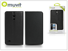 Huawei Ascend G526 flipes tok kártyatartóval - Muvit Slim and Stand - black