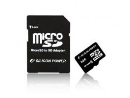 Silicon Power Micro SDHC 8GB + SD adapter CL4 memóriakártya