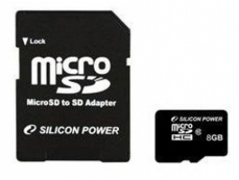 Silicon Power Micro SDHC 8GB + SD adapter CL10 memóriakártya