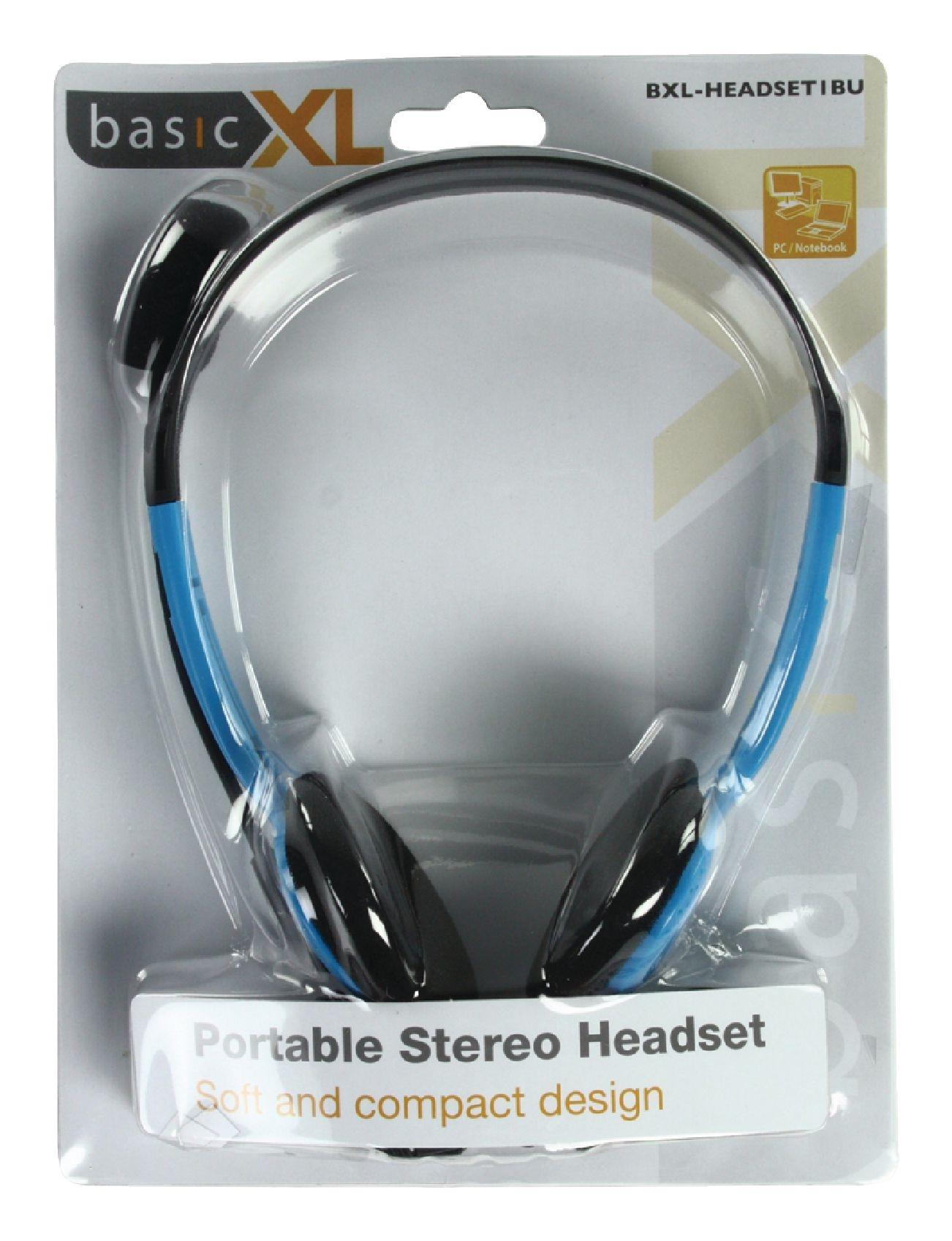 basicXL (BXL-HEADSET1BU) kék sztereo mikrofonos fejhallgató (2m kábel 6ad57b2d04
